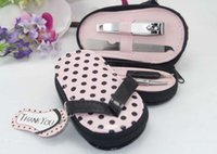 Wholesale Pink Slipper Nail Set - Creative nail clipper suits Slippers shaped pink manicure set Valentine's day Baby shower Wedding favor gift