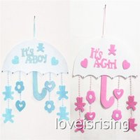 Wholesale Shower Hanging - New Arrivals -1pcs lot Blue Pink Color Cute Non woven Boy & Girl Baby Showers Christenings Baby Birthday Party Supplies Hanging Decoration