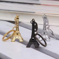 Wholesale Paris Souvenirs - Couple Lovers Key Ring Advertising Gift Keychain Alloy Retro Eiffel Tower Key Chain Tower French France Souvenir Paris Keyring