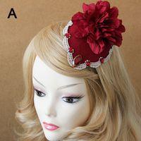 Wholesale Masquerade Hair Accessories - Bohemian Lolita Lace Flower Fascinator Hat Clip Pin Bridal Wedding Beach Show Hair Clips Women Masquerade Party Hair Accessory Barrettes