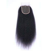 Wholesale Tangle Free Kinky Straight Hair - 7A Quality Brazilian Indian Malaysian Peruvian 4*4 Kinky Straight Lace closure No Shedding Free Tangle Full And Thick Free Shipping Fee DHL