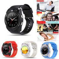Wholesale Wholesale White Round Boxes - V8 Smart Watch Sport Bluetooth Watches With 0.3M Camera MTK6261D Smartwatch Full Round Screen for Android Micro Sim TF Card With Retail Box