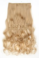 One Piece Medium Long Curly Clip dans les extensions de cheveux Clip sur les crevettes Feuille de cheveux synthétique Golden Blonde Hair Extensions
