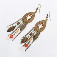 Wholesale Earrings Plume - Christmas Gift Collier Pendant earrings Female Plume Dream catcher Bohemia Dream Catcher Leaves Pendant Necklace For Women boho Gift
