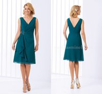 Wholesale Teal Chiffon Knee Length Dress - 2016 Green Teal Mother Of The Bride Dresses Jasmine V Neck Short Knee Length Chiffon Formal Evening Prom Dress Wedding Party