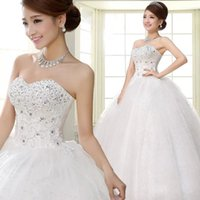 Wholesale Heart Models Cheap - 2016 New Ball Gown Wedding Dresses Bridal Gowns With Sweet-heart Beads Crystals Ivory Tulle Lace Corset Back In Stock Real Image Cheap
