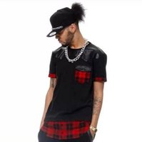 Wholesale Leather Sleeve T Shirt Women - Tyga Red Plaid Men women hip hop swag extended Lengthen Leather T-shirt Oversized Men T Shirt Cool Tee leather t-shirt swag LK