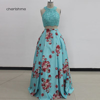 Wholesale Printed Body Skirt - Real Photo 2017 Two Pieces Lace Applique Upper Body Dresses Party Evening Printed Skirt Ball Gown Dresses Evening Wear