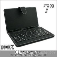 Wholesale red inch tablet bundle online - 100X OEM Leather Case with Micro USB Interface Keyboard for inch MID Tablet PC A JP