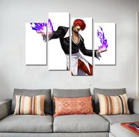 Wholesale Wall Pictures Set - 4pcs set Wall Art Picture:Japanese Anime KOF Iori Yagami Spray Painting on Canvas Unframed Landscape Print Wholesale Home Decoration