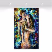 nackter kunstmann großhandel-100% Handgemalte Nackte Frau und Mann Sex Ölgemälde Spachtel Abstrakte Bild Körper Leinwand Kunst Weihnachtsgeschenk Wohnkultur