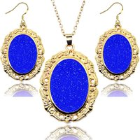 Wholesale Acrylic Mirror Earrings - 2016 New Jewelry oval mirror 2pcs Jewelry Set Earrings and Necklace kendra new style for party