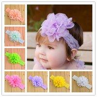 Wholesale Baby Shabby Flower Headbands - 18colors baby headbands chiffon flower for baby hairbands chiffon flower shabby flower hair accessories hair flower