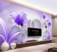 papel tapiz morado para sala de estar al por mayor-Papel tapiz de flores púrpuras Mural de pared 3D para la sala de estar Fondo de TV Arte de la pared Decoración Impresión Foto Papel de pared papier peint 3d fleur