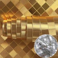 Wholesale Wallpaper Golden - Wholesale- PVC papel de parede 3d glitter mosaic gold foil wallpaper silver metallic wallpaper for living room golden lattice of wall paper
