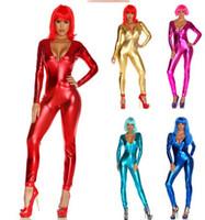 Wholesale Halloween Costume Women Lycra - Metallic Black Lycra Spandex without Hand Head Body Catsuit Halloween Party
