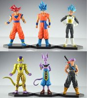 Wholesale Dragon Ball Action Toy - NEW 12-14cm 6pcs set Dragon Ball Resurrection 'F' golden Frieza battle of gods Theater Saiyan Son Goku action figure toys