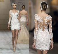 düğün beyaz dantel kılıf elbisesi toptan satış-Seksi Beyaz Dantel Aplike Mini Gelinlik Illusion Uzun Kollu Kılıf v Boyun Gelin Törenlerinde Custom Made Gelinlikler