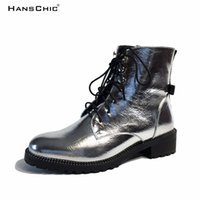 HANSCHIC 2017 New Arrival Special Mirrored Silver Reflective Design Ladies Women's Casual Boots Shoes para Mulher 8897