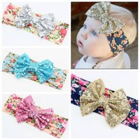Wholesale Toddler Headbands Big Flowers - 2016 baby Gold sequin headband girls boutique hair bows wholesale sequin big bows hair accessories headbands flower toddler floral hairbands