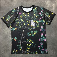 Wholesale Birds Tshirt - 2016 summer luxury Fruits tree tshirt men tees bird print short sleeve t-shirts men's clothing