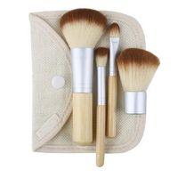 Wholesale Bamboo Blush Brush - Professional 4Pcs Bamboo Handle Makeup Brush Set Cosmetics Tools Kit Powder Blush Brushes Make Up Brush gift Free Shipping
