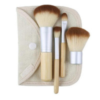 ingrosso trucco di bambù trasporto libero-Professionale 4Pcs Bamboo Handle Makeup Brush Set Cosmetics Tools Kit Powder Blush Brushes Make Up Brush regalo Spedizione gratuita