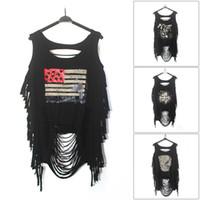 Wholesale Skull Blouse Wholesale - Summer Women Punk Ripped Skull Printing Vest Sleeveless Blouse Tank Tops Shirt