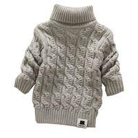 Wholesale Warm Sweater Kids - Boys Girls Unisex Turtleneck with Beard Label Solid Baby Kids Soft Warm Sueter Infantil Autumn Winter Children's Sweater Coats(ZJ008)