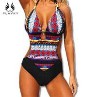 Wholesale Bikini Push Up Tanga - Wholesale- 2017 Sexy Lady Monokini Brazilian Tanga Halter Beachwear Bathing Suit Large Plus Size Push Up Swimwear Women One Piece Swimsuit