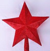 weihnachtsbaum silber stern ornamente großhandel-Die Christbaumschmucke Der Baumspitzenstern 20cm goldener roter silberner Stern für Weihnachten liefert 10 PC / Los