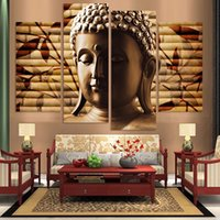 handgemalte buddha canvas groihandel-Canvas Painting High Quality Hand-painted Art Religion Buddha 4 Panel Wall Oil Painting On Canvas Unframed