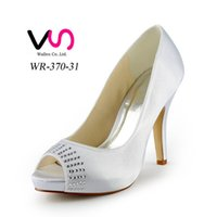 Wholesale Champagne Diamond Bridal Shoes - 2015 Women Silver Custom big size wedding shoes crystals rhinestones bridal wedding Peep toe shoes Diamond Shoes Party Prom High Heels shoes