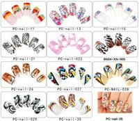 Wholesale Long Full Cover Nails - Wholesale Mixed 12 Sets Lot (24pcs set) Pre-designed Long Full Cover Square False Nails Finger Salon Manicure DIY Nail Art Tips