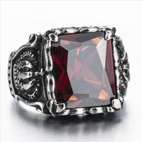 Wholesale Crown Rings For Men - Top Quality Titanium Steel Rings Finger Red Gem Crown Stone Punk Style 316L Stainless Steel For Men Ring Party Birthday Jewelry