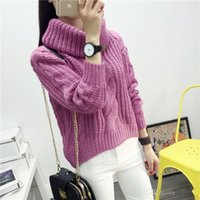 Wholesale Turtleneck Korea Women - Korea Ladies Winter Sweaters and Pullovers Turtleneck Oversized Sweaters Women Solid Loose Thick Warm Knitted Sweater Pull Femme FS0717