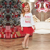 Wholesale Mesh Skirt Set - Girls Christmas outfits INS Children cotton Letters Blouses+sequins mesh gauze skirts 2pcs sets kids Princess clothing hot sale C1409