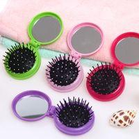 Wholesale hair dryer mini pink - 4 Colors Fashion Travel Portable Folding Massage Comb with Mirror Mini Plastic Flip Hair Brush 50pcs lot