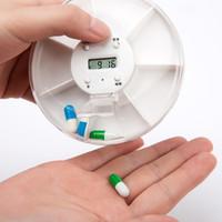 Wholesale Medicine Box Timer - Multi-Alarm Timer Pill box 7 Slots Round Daily Weekly 7 Days Tablet Pill Medicine Reminder Holder Organizer pill case