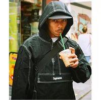 Wholesale Men Classic Hooded Jacket Hoodie - England Style Teenager Casual Jacket Fashion Brand Classic Type Hooded Hoodies Men's Solid Black White Green Pink Windbreaker Jacket