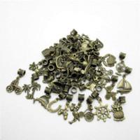 Wholesale Bronze Loose Beads - Mix 50pcs Bronze Bead Charms Big Hole Loose Beads European Pendant Fits Pandora Charms Bracelets & pendants diy Jewelry