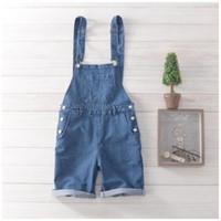 Wholesale Blue Jean Overalls Men - Wholesale-Free Shipping 2016 Men's Jean Overalls Mens Denim Bib Overalls Blue Shorts Jumpsuit Mens Jean Shorts Jeans Man