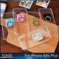 Wholesale Dust Plug Stand - Soft TPU Full Clear Acrylic Ring 360 Rotating With Stand Back Silicone Case Cover With Dust Plug For iPhone 6 6S Plus 100pcs