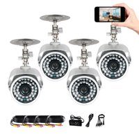 "Wholesale Surveillance Camera Housing Outdoor - 4Pcs 1 3"" CMOS 36pcs IR-LEDS 1200TVL IP66 weatherproof Outdoor Security Day Night Vision Home Surveillance CCTV Camera Cable Metal housing"