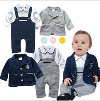 Wholesale Toddler Green Coat - Kids Clothing INS Gentlemen Outfits Baby Clothes Boys Romper Coat Suits Toddler Fashion Onesies Cotton Long Sleeve Casual Jumpsuits B3299