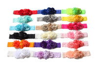 Wholesale Hair Stain - 2016 baby newborn infant headband stain rose hair bow Chiffon flower lace elastic headbands children girls hair accessories 18colors