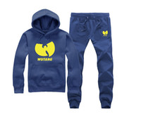 Wholesale wu tang sweatshirt - s-5xl Wu Tang Hoodies suit Fleece Men Women Sweatshirts O-neck Thick Hip Hop Streetwear Matching Couples Loose set