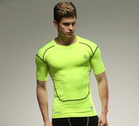 Spandex / lycra split running shorts men - Summer Quick Dry Slim Fit fitness Men s T Shirts Running Sports crossfit T Shirt