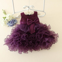 Wholesale Wholesale Boutique Formal Dresses - Boutique Girls Dresses for Party and Wedding Formal Evening Romantic Purple Beading Flower Girl Tutu Birthday Dress 1-5T E026