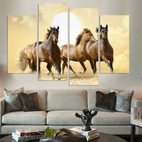 Wholesale Horse Art Canvas Set - 4Panel Modern Horse Canvas Painting 4 Panel Set Abstract Canvas Art Wall Hangings Restaurant Decoration Pictures No Frame